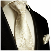 Champagne Wedding Silk Tie and Pocket Square by Paul Malone