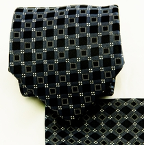 Charcoal and Black Necktie and Pocket Square Set (Q580-C)