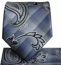 Charcoal and Black Paisley Tie and Pocket Square