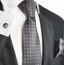 Ash and White Mens Silk Tie Set by Paul Malone