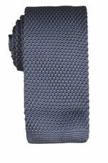 Charcoal Grey Knit Tie by Paul Malone