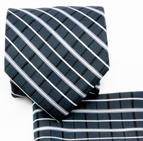 Charcoal Necktie and Pocket Square Set (Q578-I)