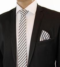 Charcoal Striped SLIM Silk Tie Set by Paul Malone