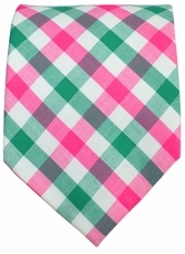 Classic Pink and Green Plaids . Cotton Tie by Paul Malone