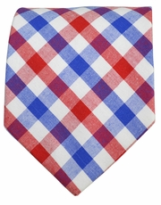 Classic Red and Blue Plaids, 100% Cotton Tie by Paul Malone