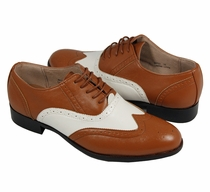 Cognac and White Wing-tip Spectators