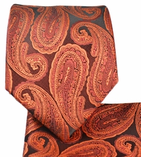 Copper Paisley Tie and Pocket Square Set