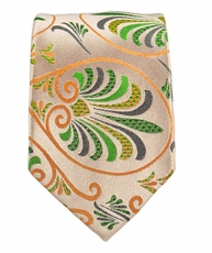 Coral and Green Slim Silk Tie by Paul Malone