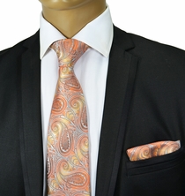 Coral Paisley Silk Tie and Pocket Square . Paul Malone Red Line