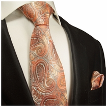 Coral Paisley Silk Tie and Pocket Square . Paul Malone