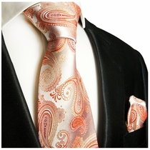 Coral Paisley Silk Tie Set by Paul Malone