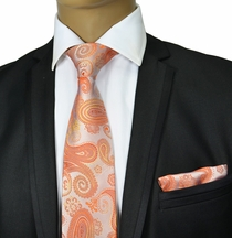 Coral Paisley Silk Tie Set by Paul Malone Red Line