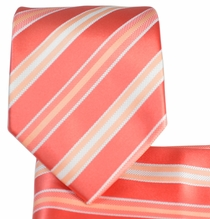 Coral Striped Necktie and Pocket Square