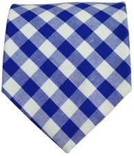 Cotton Tie by Paul Malone Red Line . Classic Blue Plaids
