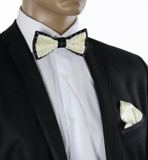Cream a. Black Crystal Bow Tie Set . Silk (C1PT-13)