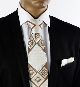 Cream and Tan Crystal Tie a. Pocket Square (C72-13)