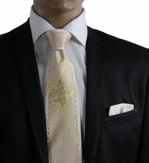 Cream Crystal Silk Tie Set by Steven Land (CR613)
