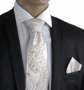 Cream Silk Tie Set with Crystals (C71-13)