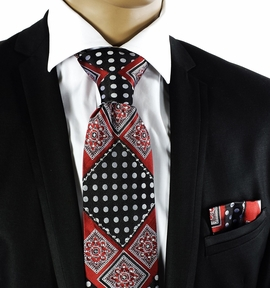 Crystal Tie and Pocket Square Set . Red a. Black (C72-5)