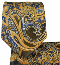 Curry and Navy Paisley Tie and Pocket Square