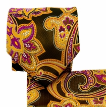 Curry, Brown and Pink Paisley Necktie Set (Q569-C)