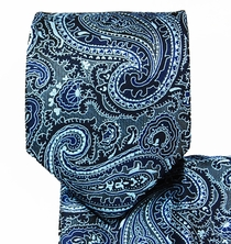Dark Blue Paisley Necktie and Pocket Square Set (Q350-C)