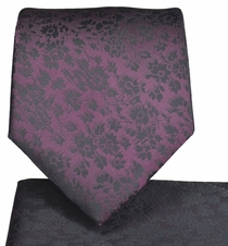 Dark Burgundy Necktie and Pocket Square Set