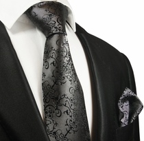 Dark Grey Silk Tie and Pocket Square by Paul Malone Red Line