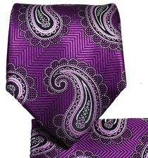 Deep Purple Paisley Tie and Pocket Square