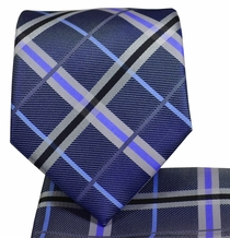Deep Purple Plaid Necktie and Pocket Square
