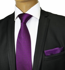 Deep Purple Silk Tie Set . Paul Malone Red Line