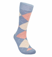 Denim and Coral Argyle Cotton Dress Socks by Paul Malone