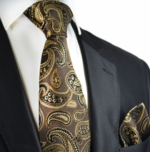 Desert Palm Brown Paisley Silk Tie Set by Paul Malone