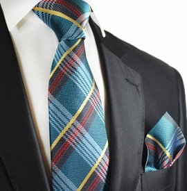 Dragonfly Blue Paul Malone Silk Tie and Pocket Square Set