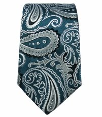 Emerald and Gray Slim Silk Tie by Paul Malone