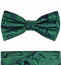 Emerald and Navy Bow Tie and Pocket Square by Paul Malone . 100% Silk (BT510H)