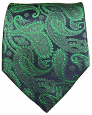Emerald Green and Navy Paul Malone Designer Silk Tie (510)