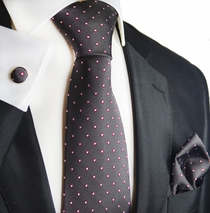 Excalibur Grey and Red Silk Tie Set by Paul Malone
