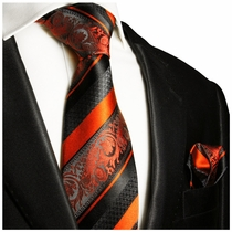 Fiery Orange and Black Silk Tie Set by Paul Malone Red Line