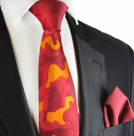 Fire Red Contrast Knot Tie Set by Paul Malone