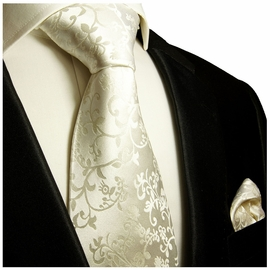 Formal Ivory Silk Tie and Pocket Square Set by Paul Malone