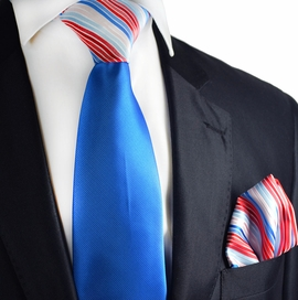 French Blue Contrast Tie and Pocket Square by Paul Malone
