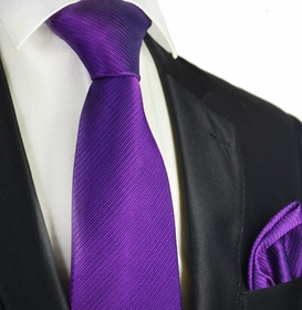 Gloxinia Purple 7-fold Silk Tie and Pocket Square Set