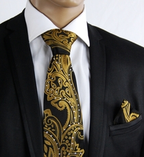Gold a. Black Silk Tie Set with Crystals (C71-12)