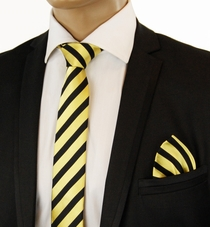 Gold a. Black Slim Silk Tie Set by Paul Malone