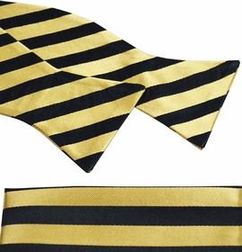 Gold and Black Bow Tie and Pocket Square Set by Paul Malone . 100% Silk (BT830H)