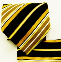 Gold and Black Necktie and Pocket Square Set (Q581-G)