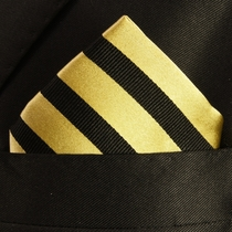 Gold and Black Pocket Square . 100% Silk (H830)