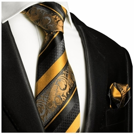 Gold and Black Silk Tie Set . Paul Malone