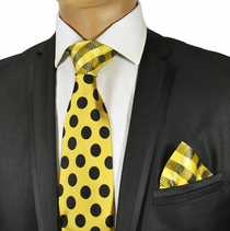 Gold and Black Steven Land Tie and Pocket Square